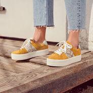 Ledersneaker - gelb, SAFFRON COMB, hi-res