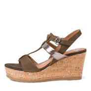Sandale à talon en cuir - kaki, KHAKI COMB, hi-res