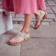 Sandale en cuir - métallique, SILVER, hi-res