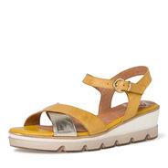 Sandale en cuir - jaune, SUN COMB, hi-res