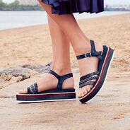 Leather Sandal - blue, NAVY COMB, hi-res