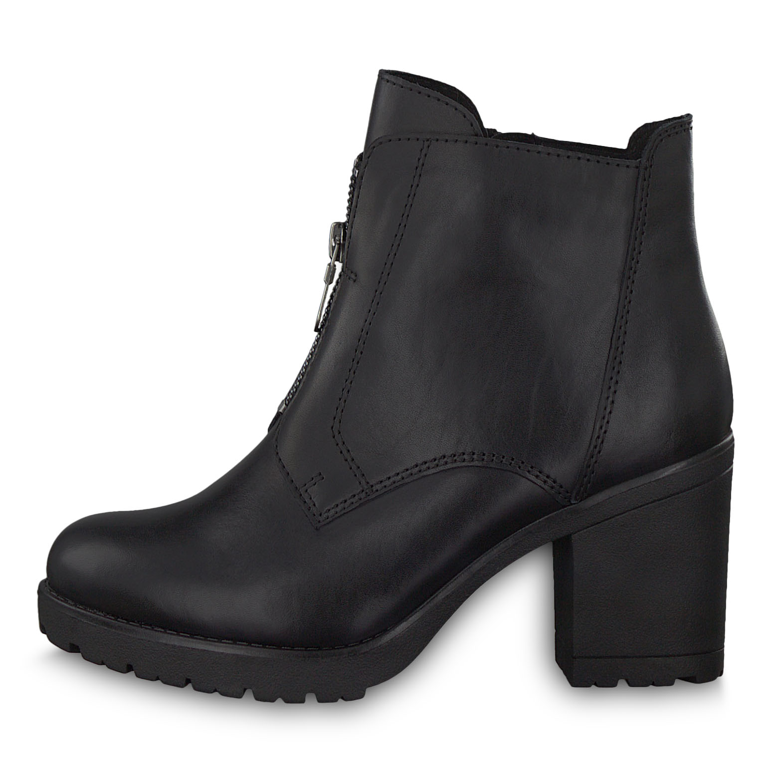 Leather Bootie - black, BLACK ANTIC, hi-res