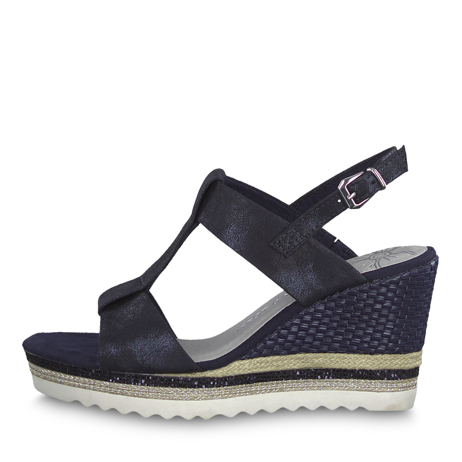 Heeled sandal - blue, NAVY METALLIC, hi-res