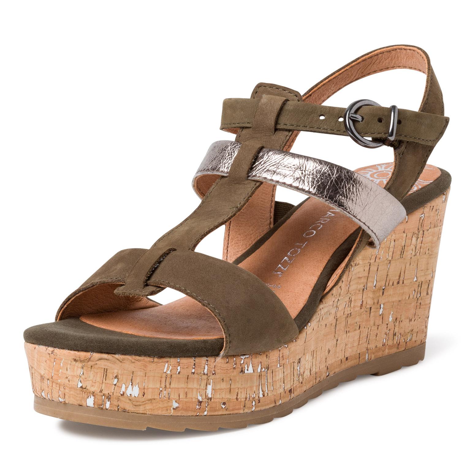 Sandale à talon en cuir
